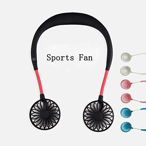 Hands-Free Neckband Fan,Hand Free Personal Fan,Headphone Design Wearable Portable USB Rechargeable Neckband Mini Fan (3 Speeds, 5-10 Working Hours) Black