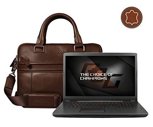 reboon Echt-Leder Laptop-Tasche in Schwarz Leder für ASUS GL702ZC GC178T 17 3   17 Zoll   Notebooktasche Umhängetasche   Damen/Herren - Unisex   Premium Qualität Braun Leder TCgyYR3tU7
