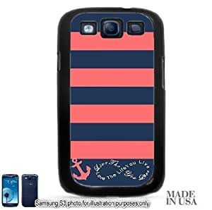 Anchor Live the Life You Love Infinity Quote - Navy Coral Nautical Stripped with Anchor Samsung Galaxy S3 i9300 Hard Case - BLACK by Unique Design Gifts [MADE IN USA]