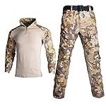 Uniforme militaire tactique camouflage pour homme avec chemise de combat + pantalon cargo genouillères 7