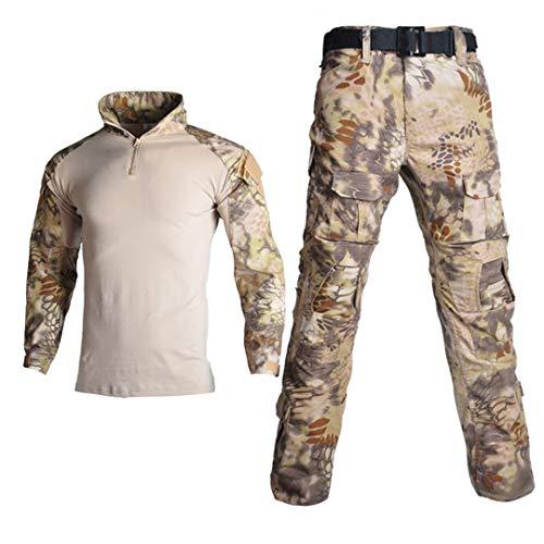 Uniforme militaire tactique camouflage pour homme avec chemise de combat + pantalon cargo genouillères 1