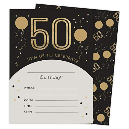 50th Birthday Style 4 Happy Birthday Invitations Invite Cards (25 Count) With Envelopes and Seal Stickers Vinyl Girls Boys Kids Party (25ct)