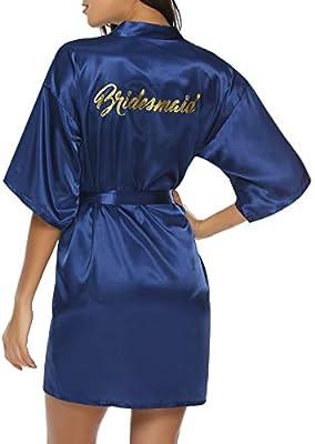 Hawiton Womens Satin Silk Bride /& Bridesmaid Robe Gold Glitter Wedding Party Kimono Robes