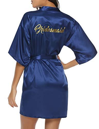 (Hawiton Women's Satin Silk Bride & Bridesmaid Robe Gold Glitter Wedding Party Kimono Robes)