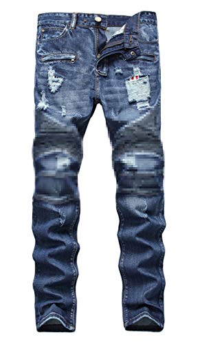 NITAGUT Men's Ripped Slim Straight fit Biker Jeans with Zipper Deco (40Wx32L, Royal Blue) (Pants Zipper Straight Men)