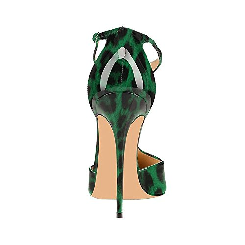 uBeauty Womens Court Shoes T-Strap Heels Sandals Big Size Stiletto Solid Pointed Toe Ankle Strap Pumps Green Leopard 2QU3RpGS