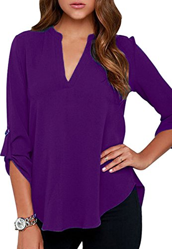 (OMZIN Women's Summer V Neck Solid Loose Formal Cuffed Sleeve Blouses Purple S)