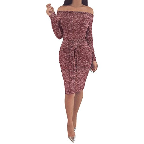 Mikey Store Women Casual Bodycon Dress Off Shoulder Long Sleeve Evening Party Mini Dress (Medium, Wine) -