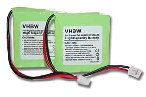 2 x baterías Ni-MH 500mAh (2,4 V) compatible con Siemens Gigaset E45, E450, E455, Swisscom Aton CL-102.. Sustituye: V30145-K1310-X382