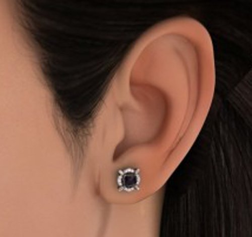 18 K Or Blanc 0,22 CT TW White-diamond (IJ | SI) et iolite Boucles d'oreille à tige