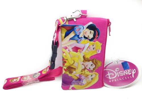 Disney Pink Princess Lanyard Id Ticket Iphone Key Chain Badge Holder Wallet