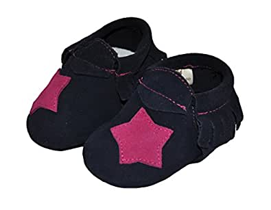 Liv & Leo Baby Girls Moccasins Soft Sole Crib Shoes Slip-on 100% Leather - Star Collection (0-6 Months, Blue/ Pink Star (Suede))