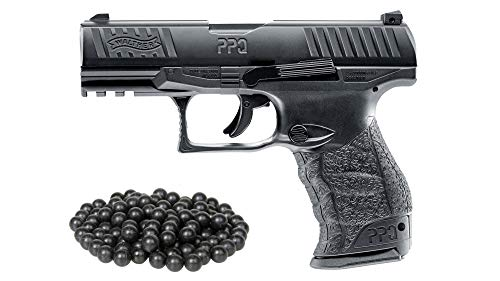 T4E Umarex .43cal Walther PPQ Paintball Pistol Black semi auto CO2 Magazine W/Free 50 RUBBERBALLS (Free Gun Paintball)