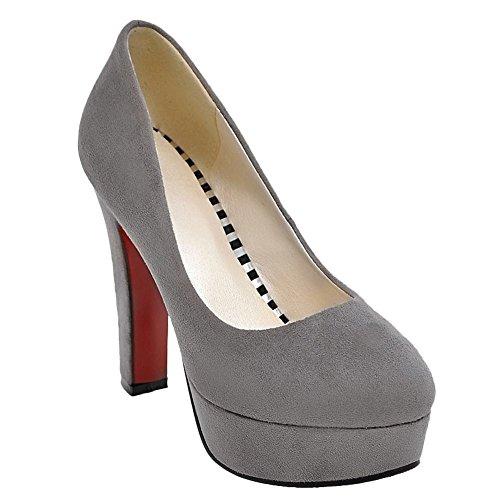 Charm Foot Mujeres Elegante Plataforma De Tacón Alto Vestido De Fiesta Zapatos Gris