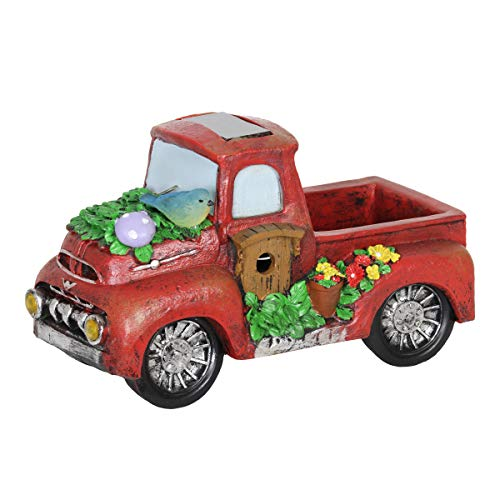 Exhart Solar Red Vintage Truck Garden Statue - Hand-Painted Red Truck Resin Statue Features Solar LED Accent Lights - Vintage Truck Decor, Country Rustic Outdoor Decorations - 11 x 6 Inches (Truck Accents)