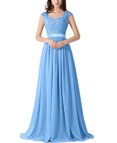 ThaliaDress Chiffon Applique Bridesmaid Prom Evening Dress T007LF Sky Blue US2