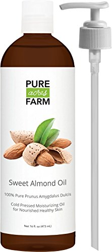 Sweet Almond Oil - For Skin, Hair and Face - 16oz Bottle with PUMP + FREE Recipe eBook! - All Natural Sensual Massage Oil - Use with Essential Oils and Aromatherapy as a Carrier and Base oil