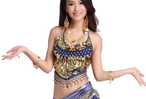 [ZLTdream Belly Dance Top With Chest Pad bells &coins Dark Blue, One Size] (Belly Dance Costumes Bra)