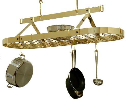 Enclume PR16cwg BP 4-Foot Oval with Grid Premier Ceiling Rack, Brass