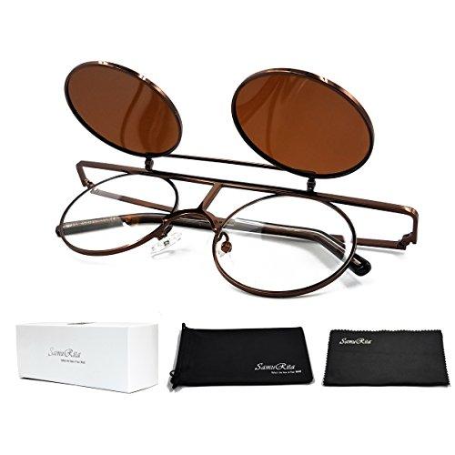 SamuRita Bold Flip Up Small Round Steampunk Sunglasses Polarized Favor Shades(Bronze - Flip Eyewear Frames