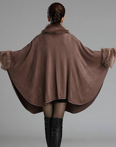 Cloak Fur Blend Warm Khaki Size Winter Trim Fox Coat PLAER Wool Women's Plus Cape Faux x6va80