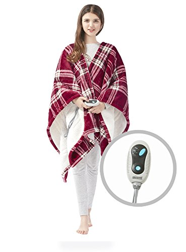 Beautyrest Ultra Soft Sherpa Berber Fleece Electric Poncho Wrap Blanket Heated Throw with Auto Shutoff, 50