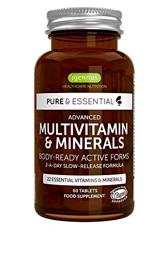 Pure Essentials Advanced Multivitamin and Minerals with Folate and Vitamins D3 and K2 | Body-Ready Methylated Vitamin Forms | 2-a-Day | Vegan | 60 Tablets