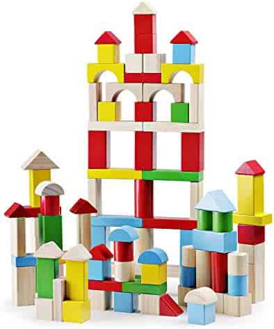 SainSmart Jr. 100 Pieces Wooden Building Blocks Construction Toys with Bright Color and Various Shapes Stacking Blocks from 18 Months, Early Educational Block Toys for Toddlers