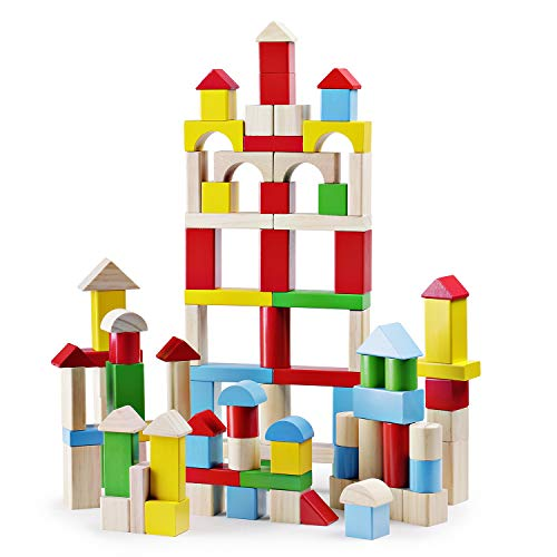 SainSmart Jr. 100Piece Wooden Building Blocks Construction Toys with Bright Color & Various Shapes Stacking Blocks from 18 Months, Early Educational Block Toys for Toddlers ()