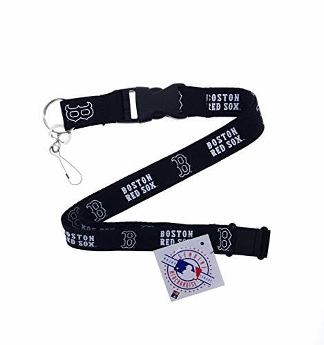 (PSG INC Baseball Sports Black Lanyard White Team Name and Logo with Clip (Red Sox))
