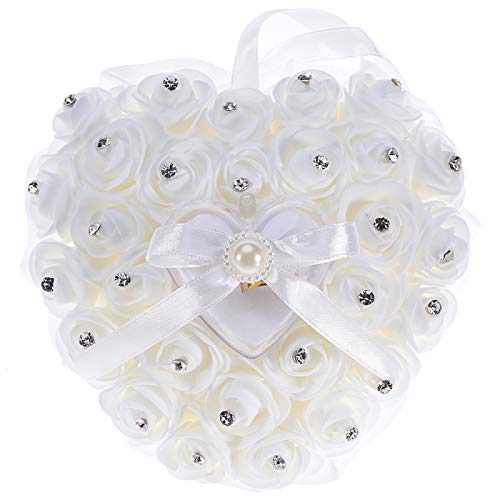 Gaiatop Ring Bearer Pillow, Ring Pillow White Wedding Lace Crystal Rose Heart Ring Box Wedding ()