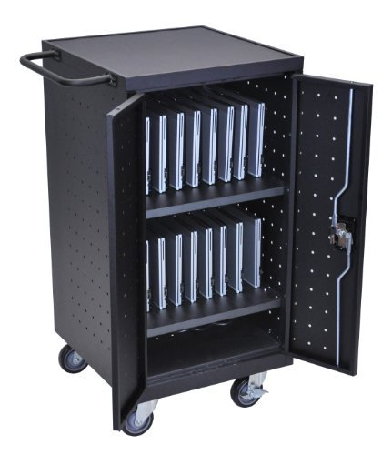 DMD Deluxe Mobile Charging and Storage Cart, Multiple iPad, Tablet, Laptop and Notebook Charging Station with Locking Security Cabinet, Stores up to 18 Devices