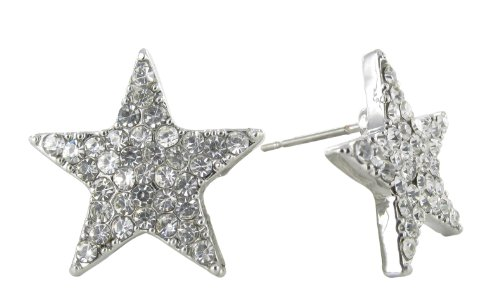 Clear Rhinestone Crystal Pavé Star Stud Earrings - Pave Star Earrings