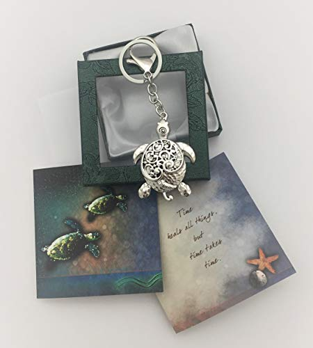 Smiling Wisdom - Sea Turtle Keychain Grief Sympathy Gift Set - Time Heals All Things Greeting Card with Comforting Message for Her, Him, Teen, Woman - Antique Silver - New