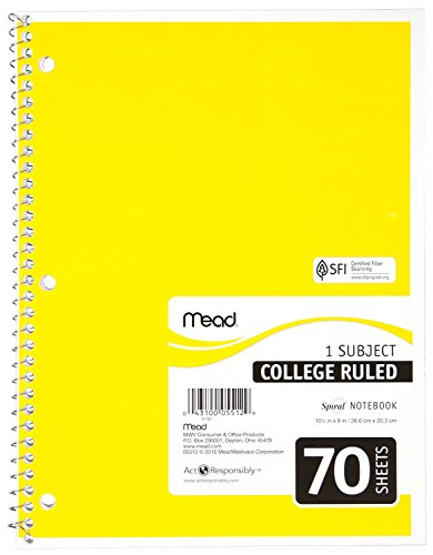 043100055129 - Mead Notebook Spiral 10-1/2 In. X 8 In. 3 Hole Punch - Assorted Colors carousel main 2