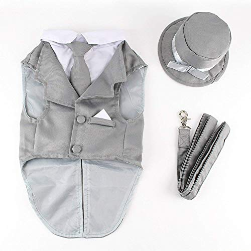 Midlee Dog Tuxedo Wedding Suit- Gray Top Hat & Leash (Large)