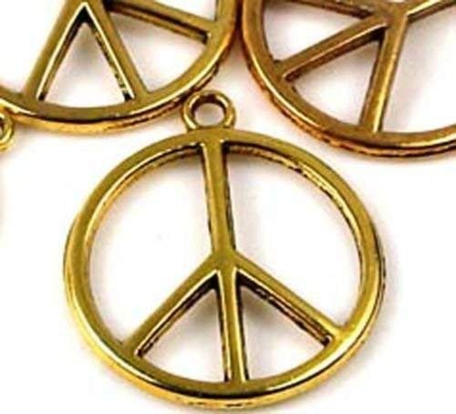 OutletBestSelling Pendant Bracelet 6 Gold Pewter Peace Sign Filigree Charm 24mm Antique Gold Peace Sign