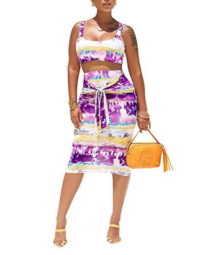 Remelon Womens Sexy Sleeveless Stripe Tie Dye Print Tank Crop Top Bodycon Tie Skirts Set 2 Piece Midi Dress Outfits Purple L