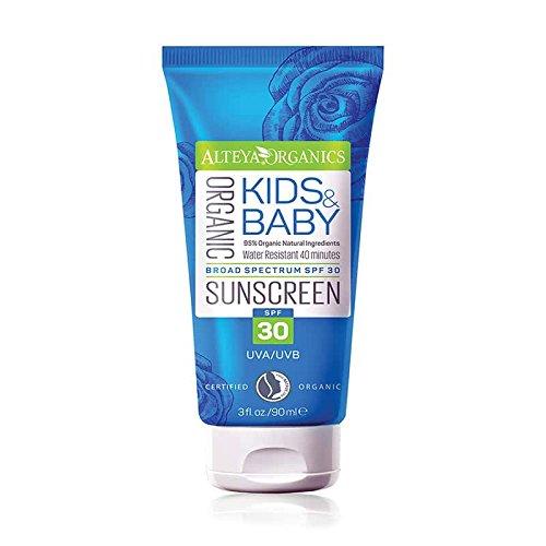Alteya Organic Kids and Baby Sunscreen 90ml - Certified Organic by NaTrue, 95% Certified Organic Ingredients Extra Safe Purely Natural Bio Sun Protection Alteya Organics