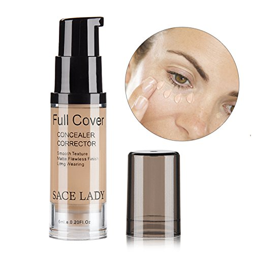 - SACE LADY Full Coverage Under Eye Concealer Corrector Makeup Base, Waterproof Flawless Smooth Concealer for Cover Eye Dark Circles 6ml/0.20Fl Oz (02.Warm Ivory)