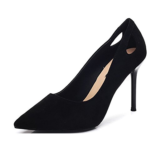 Spring 34 Fine Shoes MDRW Suede Shoes Leisure Black Temperament A With Point Match Heeled Lady High 9Cm Elegant All Work xqBqvAwI6H