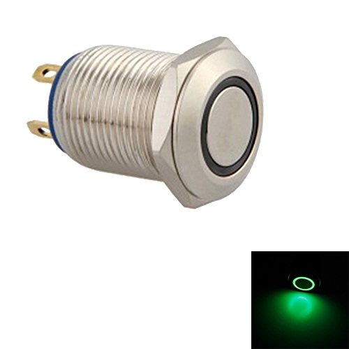 ESUPPORT 12mm Green LED Light 2A Momentary Push Button Switch Stainless Waterproof Car Boat ()