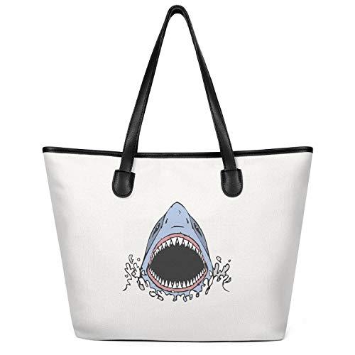 Sdesd Adsd Great White Shark Bite Women's Handbags Canvas Shoulder Bags Casual Tote ()
