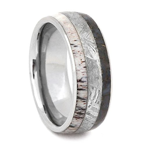 Gibeon Meteorite, Dinosaur Bone, Deer Antler 8mm Comfort-Fit Titanium Ring , Size 10.75 by The Men's Jewelry Store (Unisex Jewelry)