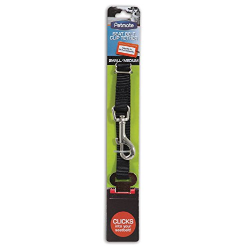 Petmate 11480 Seat Belt Clip Tether for Pets, Small/Medium, Black
