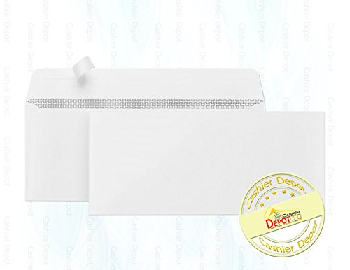 Cashier Depot No. 10 Envelopes, Strip & Seal, Security Tinted, 24lb, White, 100 Count - (Security Tinted Redi Strip)