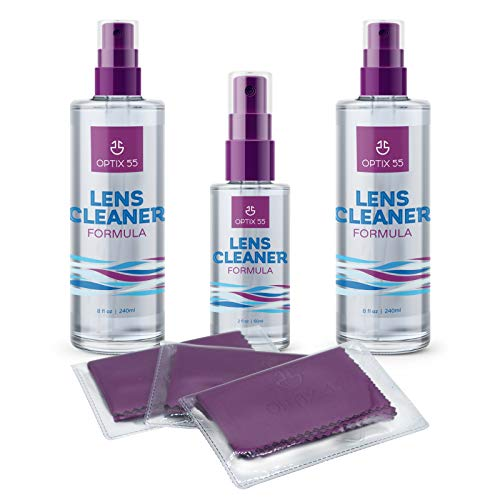 Lens Cleaner Spray Kit - Alcohol & Ammonia Free | (2) 8oz + (1) 2oz Eye Glasses Cleaner Spray Bottles + (3) Microfiber Cleaning Cloths | Safe for Eyeglasses, Lenses & Screens | Streak-Free, Unscented