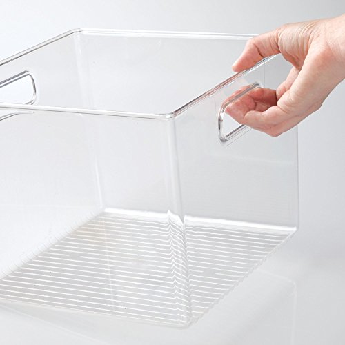 mDesign Plastic Storage Organizer, Holder Bin Box with Handles - for Cube Furniture Shelving Organization for Closet, Kid's Bedroom, Bathroom, Home Office - 10'' x 10'' x 8'' high - 2 Pack, Clear by mDesign (Image #3)