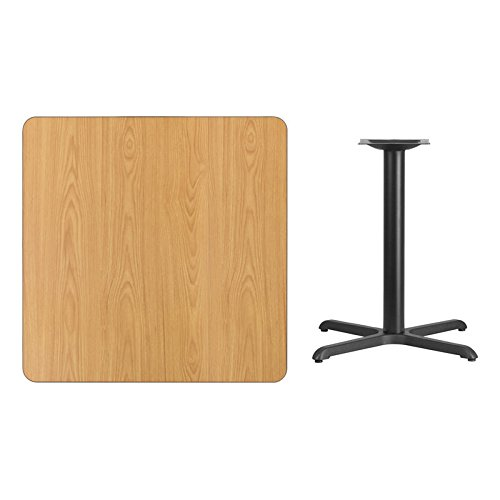 36'' Square Natural Laminate Table Top with X-Base - Table Height Restaurant Table by Flash