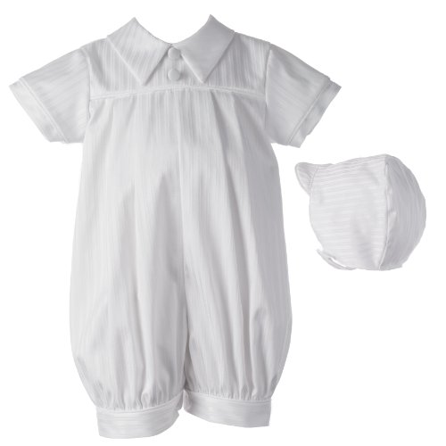 Lauren Madison Baby-Boys Newborn Christening Baptism Infant Special Occasion Satin Striped Cotton Short Pleated Romper with Shirt Collar, White, 0-3 Months